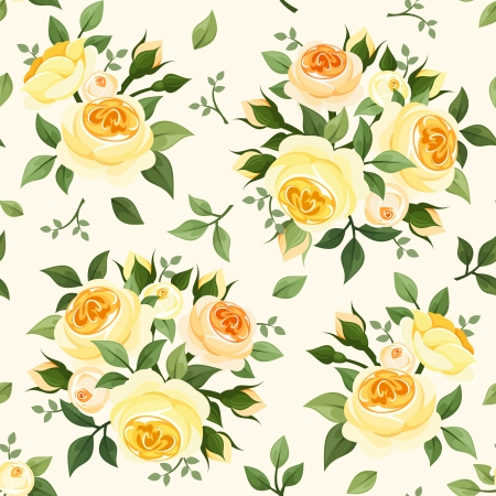 yellow roses: Seamless pattern with yellow roses  Vector illustration  Illustration