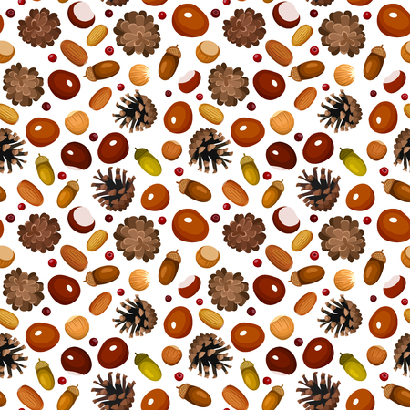 Autumn seamless background with various nuts  Vector illustration  Vector