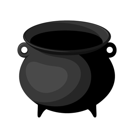 cast iron: Black witches cauldron  Vector illustration
