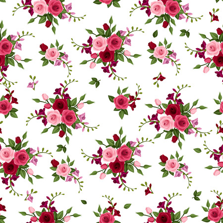maroon: Vector seamless pattern roses and freesia   Illustration
