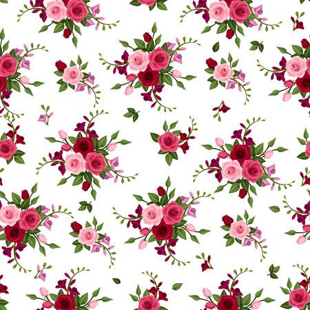 flor morada: Vector sin fisuras patr�n de rosas y fresias Vectores