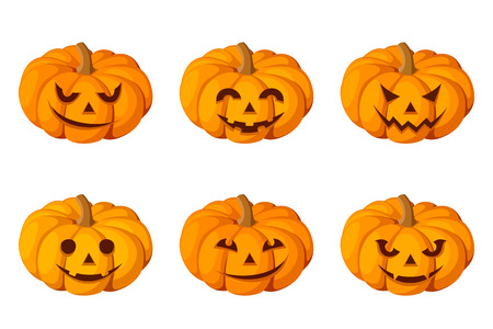 carved pumpkin: Jack-O-Lantern  Set of six Halloween pumpkins  Vector  Illustration