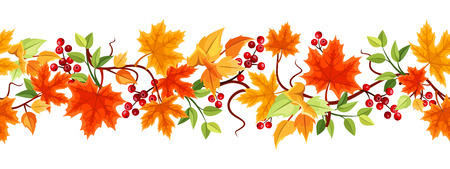 horizontal: Horizontal seamless background with autumn leaves  Vector illustration