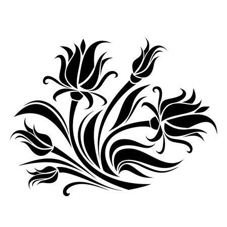 stencil: Black silhouette of flowers  Vector illustration  Illustration