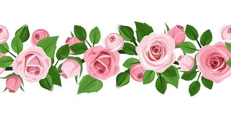 ピンクのバラのベクトル図の水平方向のシームレスな背景  イラスト・ベクター素材