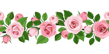Horizontal seamless background with pink roses  Vector illustration  Vector