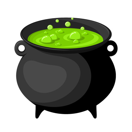 boiling pot: Black witches cauldron with potion  Vector illustration