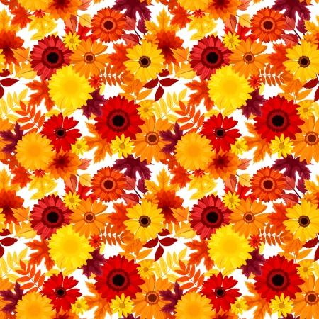 herbstblumen: Nahtlose Hintergrund mit Herbst Blumen und Bl�tter Vektor-Illustration