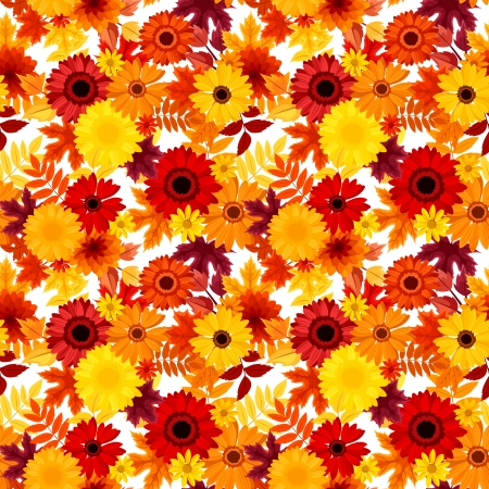 calendula flower: Seamless background with autumn flowers and leaves  Vector illustration