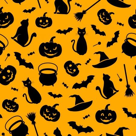 carved pumpkin: Halloween seamless background  Vector illustration