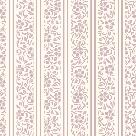 bedclothes: Seamless background with floral pattern and stripes  Vector illustration  Illustration