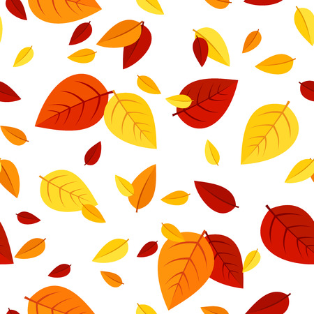 falling leaves: Seamless pattern with colorful autumn leaves  Vector illustration  Illustration