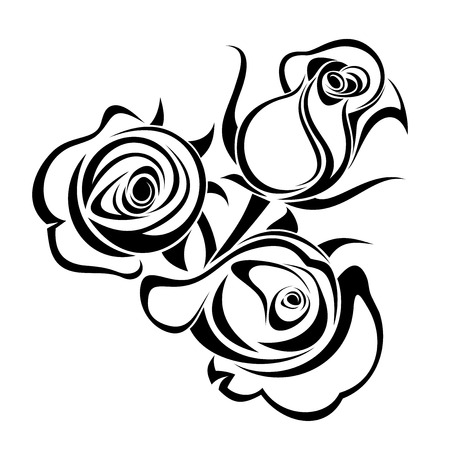 Rose buds  Vector black silhouette  Stock Vector - 23084655