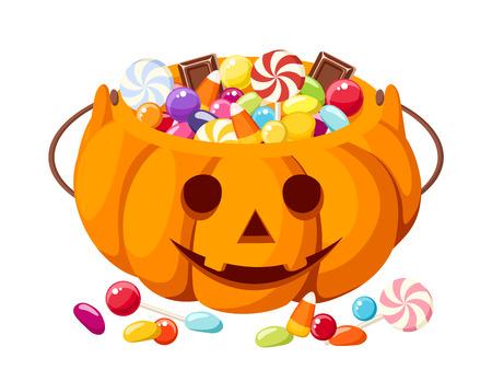 candy corn: Halloween candies in Jack-O-Lantern bag  Vector illustration