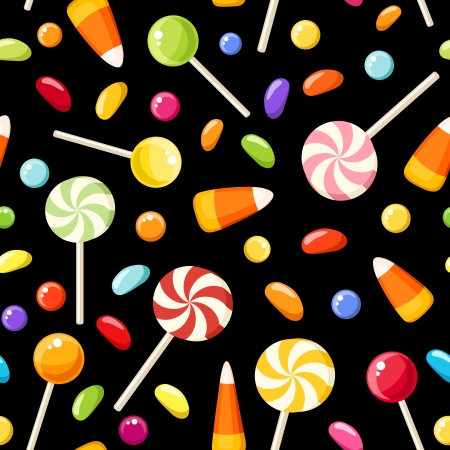 candy corn: Seamless background with Halloween candies  Vector illustration