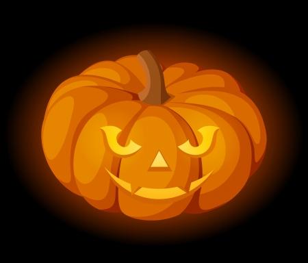 lighted: Lighted Jack-O-Lantern  Halloween pumpkin    Illustration