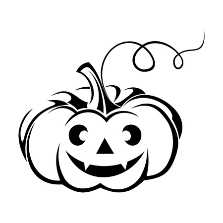 carved pumpkin: Black silhouette of Jack-O-Lantern  Halloween pumpkin   illustration