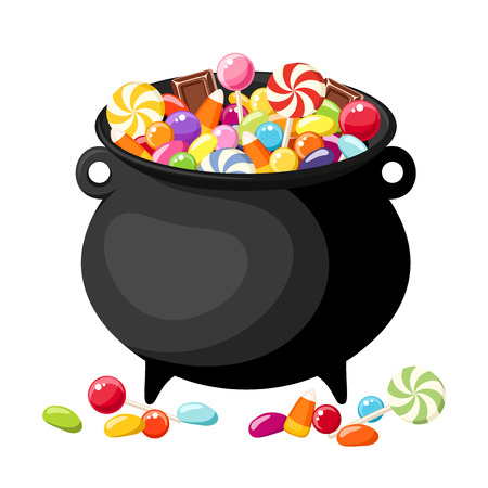 candy corn: Halloween candies in witches cauldron  illustration