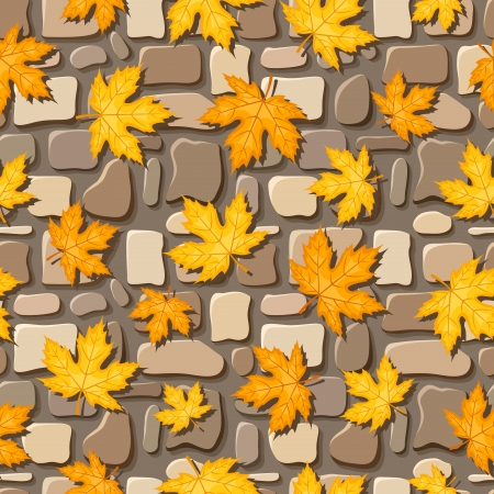 brick road: Seamless background with autumn leaves on paving stones  illustration