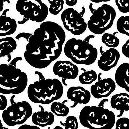 Seamless pattern with Jack-O-Lantern  Halloween pumpkins   illustration   Vector