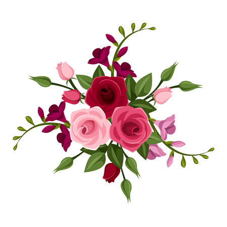 freesia: Roses and freesia  illustration