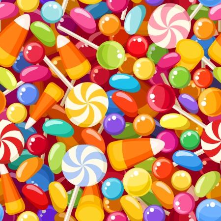 bonbons: Nahtlose Hintergrund mit verschiedenen S��igkeiten Illustration