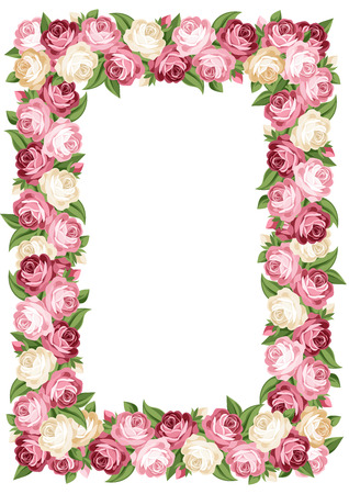Vector frame with pink and white vintage roses