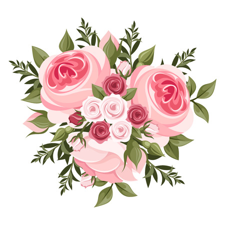 Pink roses bouquet  Vector illustration  Vector
