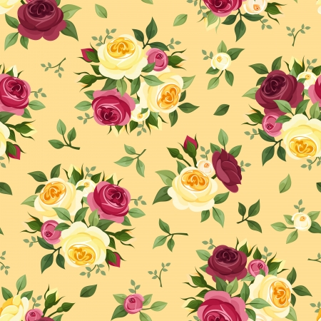 Seamless pattern with red and yellow roses  Vector illustration  Vector