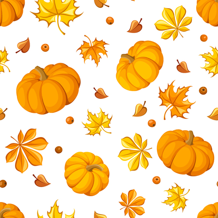 Seamless pattern with pumpkins and autumn leaves  Vector illustration   Vector