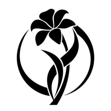 ユリの花のベクトル図の黒いシルエット