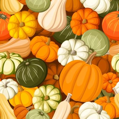 Pumpkins  Vector seamless background