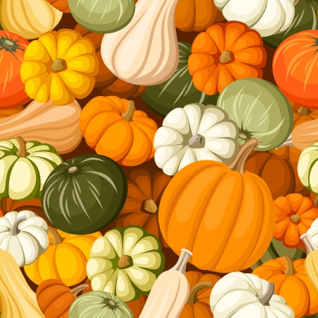 Pumpkins  Vector seamless background  Vector