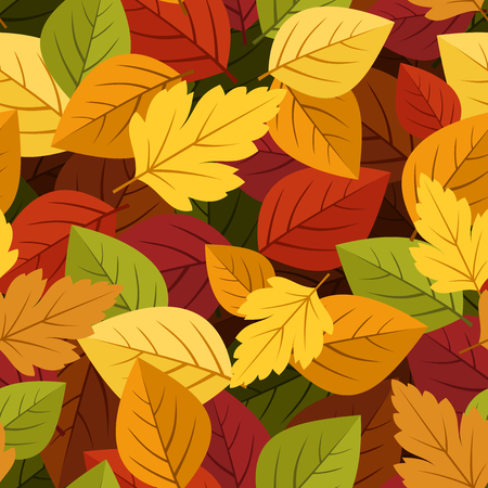 autumn leaves background: Seamless background with colorful autumn leaves  Vector illustration  Illustration