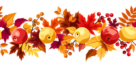 apple border: Horizontal seamless background with autumn leaves and apples  Vector illustration   Illustration