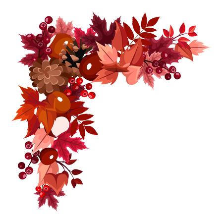corner border: Autumn leaves corner frame  Vector illustration