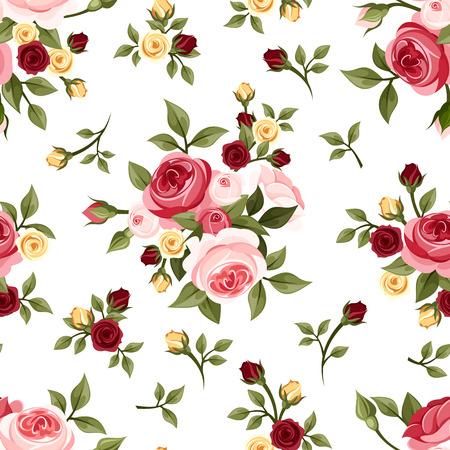 バラ ベクトル イラスト ヴィンテージのシームレスなパターン