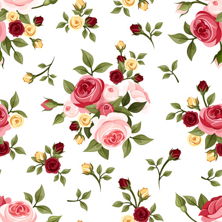 english: Vintage seamless pattern with roses  Vector illustration  Illustration