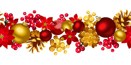 Christmas horizontal seamless background with balls, holly, cones and poinsettia  Vector