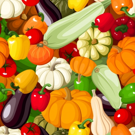 Seamless background with various vegetables  Vector illustration  Vector