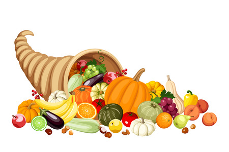 Autumn cornucopia  horn of plenty  with fruits and vegetables  Vector