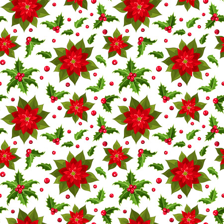 ilex: Christmas seamless background with poinsettia and holly