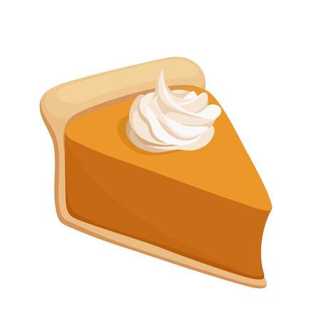 pumpkin pie: Pumpkin pie slice  Vector illustration