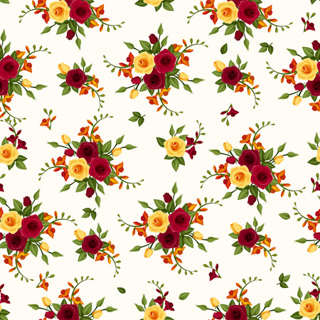 maroon: Vector seamless pattern with roses and freesia   Illustration