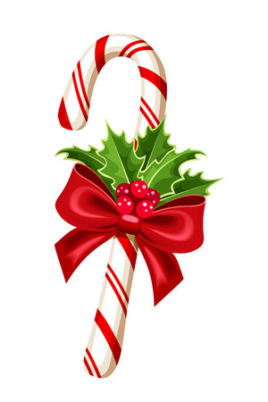 holly leaf: Christmas candy cane  Vector illustration