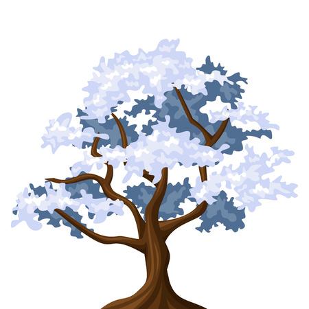 deciduous: Snowy oak tree  Vector illustration