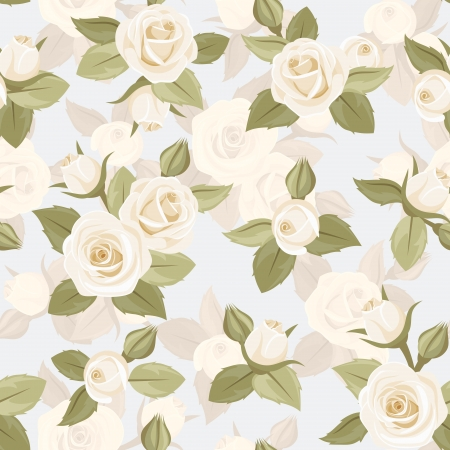 Vector seamless pattern with white roses on blue   Vector