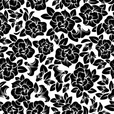 outline flower: Seamless floral pattern  Vector illustration