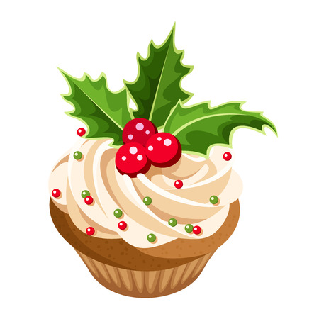 Christmas cupcake  Vector illustration  Vector
