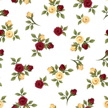 rose blanche: Vintage seamless avec des roses Vector illustration